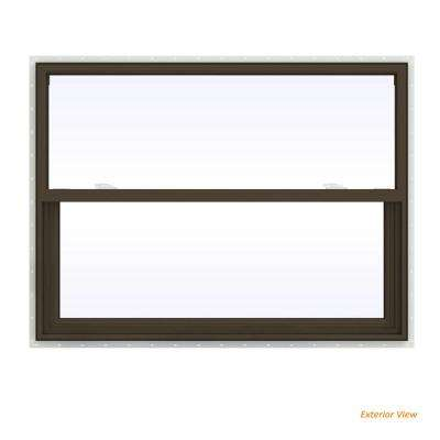 47.5 in. x 35.5 in. V-2500 Series Brown Painted Vinyl Single Hung Window with Fiberglass Mesh Screen