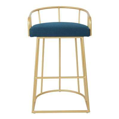 Luna 30 in. Azure with Gold Base Barstool