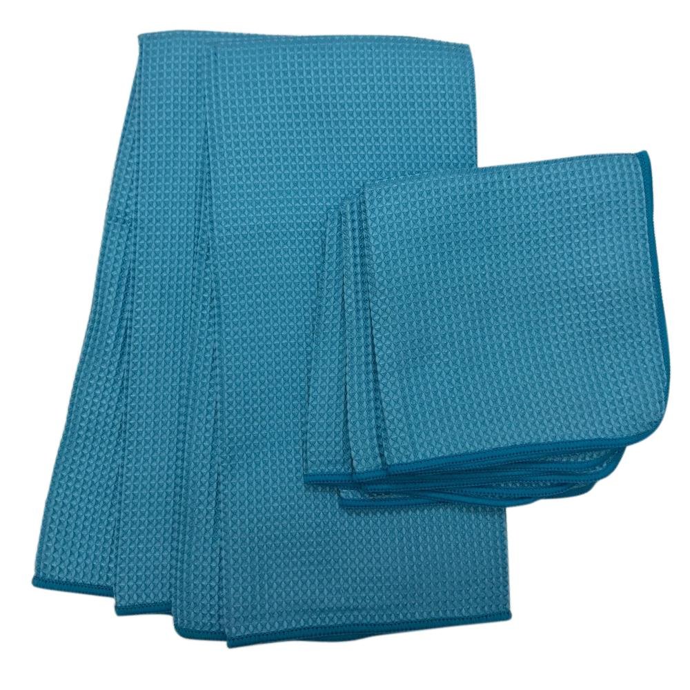 MUkitchen Waffle Microfiber Dishcloth And Dishtowel 5 Piece Set In Blue