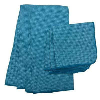 Waffle Microfiber Dishcloth and Dishtowel 5-Piece Set in Blue