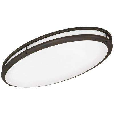 Contemporary Oval 2-Light Oil-Rubbed Bronze Flushmount Light