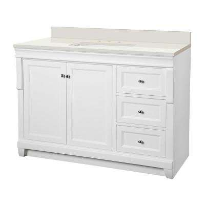 Naples 49 in. W x 22 in. D Vanity in White with Engineered Marble Vanity Top in Winter White with White Sink
