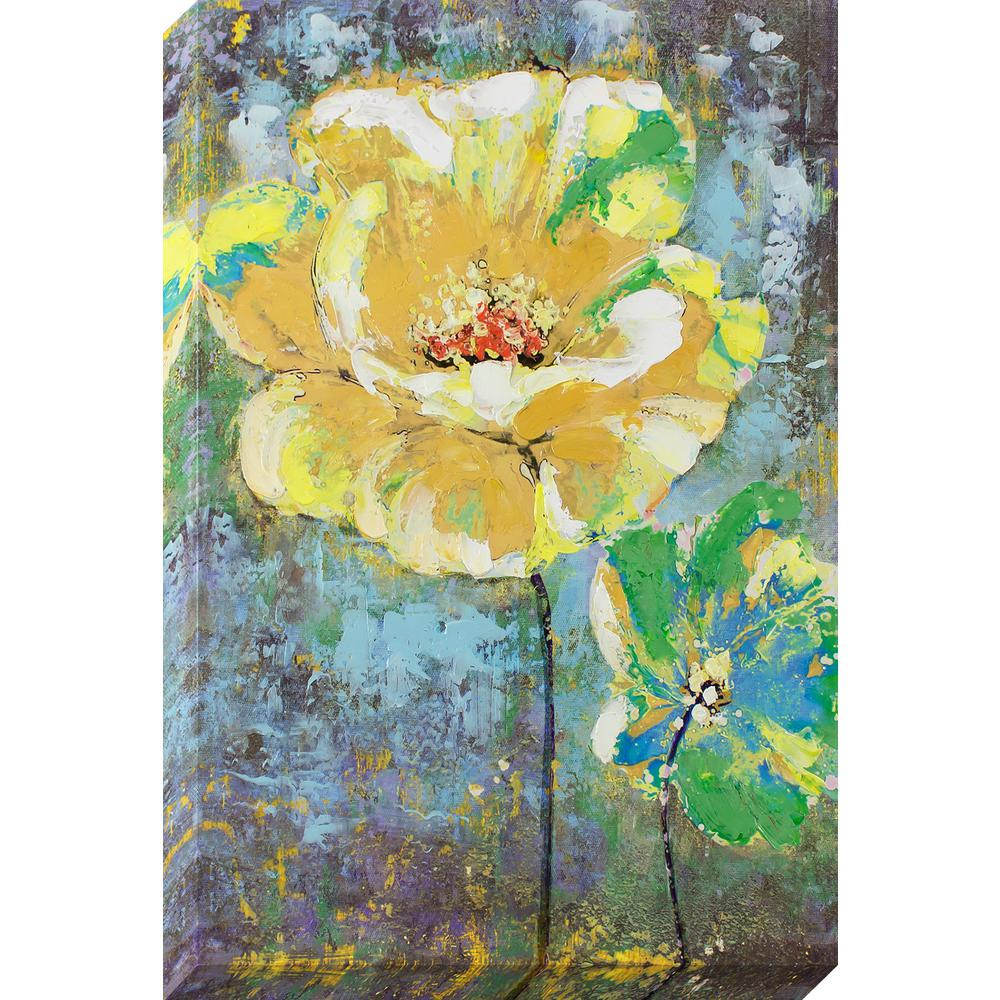 Decor Therapy 36 in. x 24 in. Yellow Painted Flower Oil Painted ...
