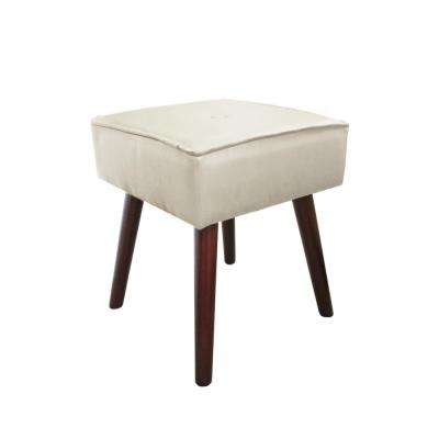 Robin Beige Foot Stool with Wooden Legs