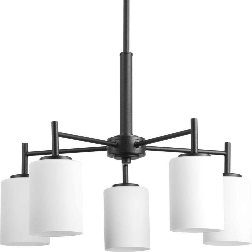 Progress Lighting Replay Collection 5 Light Polished Nickel Chandelier With  Etched White Glass P4319 104   The Home Depot