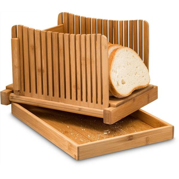 Bamboo Bread Slicer With Crumb Catcher Tray Folds for Easy Storage By Bambusi