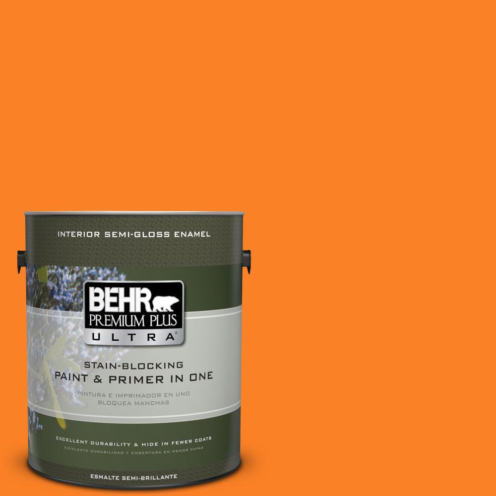 BEHR Premium Plus Ultra 1-gal. #S-G-270 Summer Citrus Semi-Gloss Enamel Interior Paint