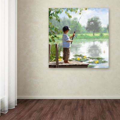 "35 in. x 35 in. ""Boy Fishing"" by The Macneil Studio Printed Canvas Wall Art"