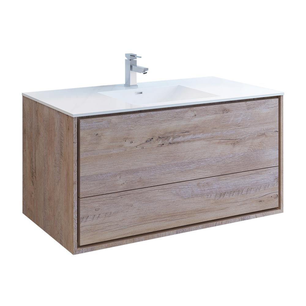 Fresca Catania 48 in. Modern Wall Hung Bath Vanity in Rustic Natural Wood with Vanity Top in White with White Basin