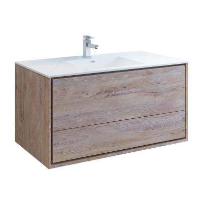 Catania 48 in. Modern Wall Hung Bath Vanity in Rustic Natural Wood with Vanity Top in White with White Basin