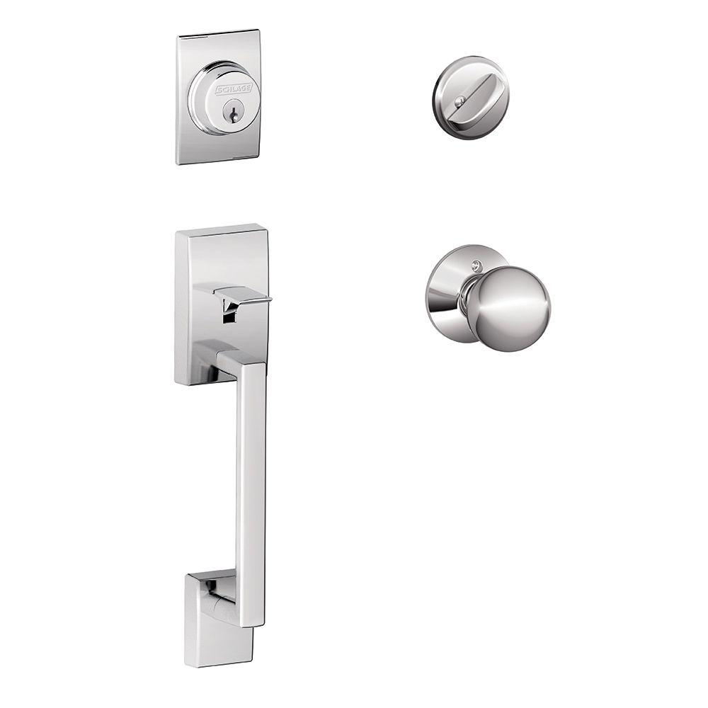 Schlage Century Bright Chrome Single Cylinder Deadbolt with Orbit Knob Door Handleset