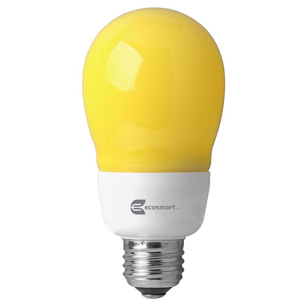 EcoSmart 60W Equivalent Soft White (2700K) A19 Yellow Bug CFL Light Bulb (2-Pack)