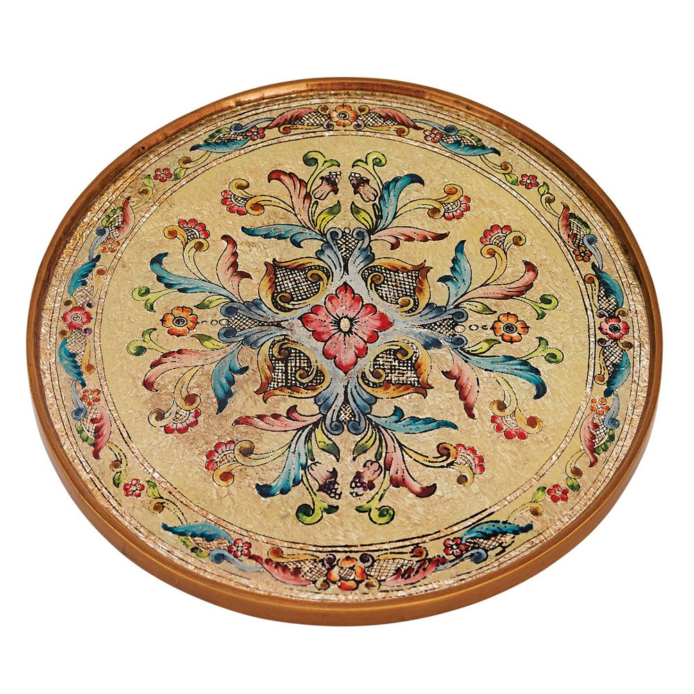 Gemstone Sand 13 in. Brown and Tan Round Tray or Charger