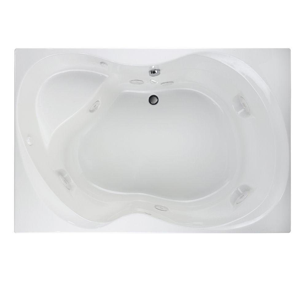 American Standard EverClean 6 ft. Whirlpool Tub with Center Drain in White