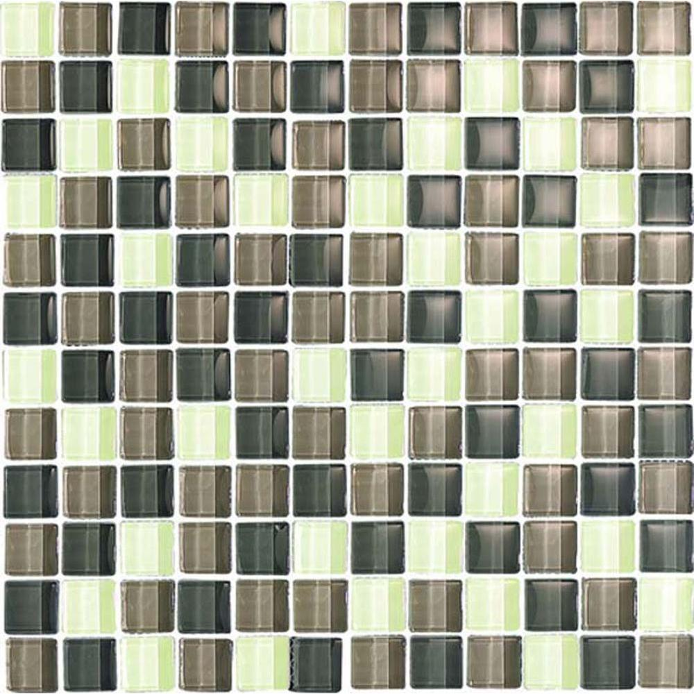 Epoch Architectural Surfaces Color Blends Selva-1601 Gloss Mosaic Glass Mesh Mounted Tile - 4 in. x 4 in. Tile Sample-DISCONTINUED