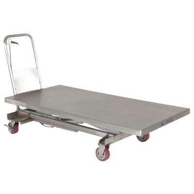 1,000 lbs. 31.5 in. x 63 in. Partially Stainless Steel Elevating Cart