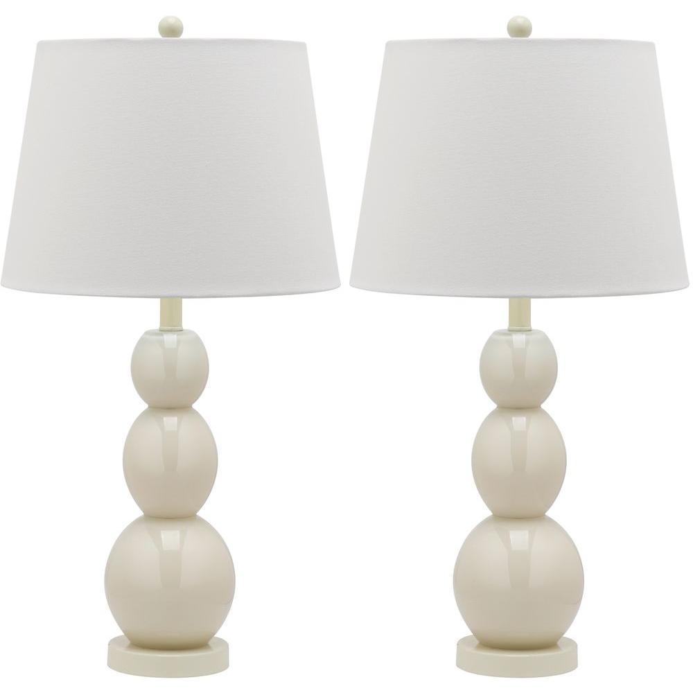 Jayne 27.5 in. Light Grey Three Sphere Glass Lamp (Set of