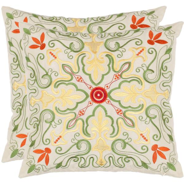Safavieh Ariel Embroidered Pillow (2-Pack) PIL870A-1818-SET2