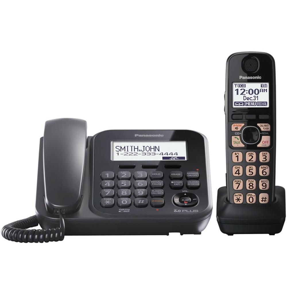 Panasonic Dect 6.0+ Corded and Cordless expandable phone with 1 handset and integrated answering machine