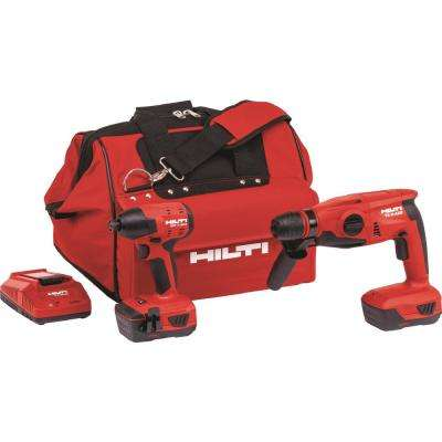 22-Volt Advanced Compact Battery Cordless Kit with SDS Plus Hammer Drill Impact Driver Tool Bag and 3 Bits