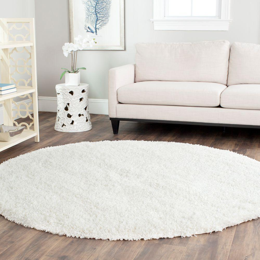 La Rug Shag Plus White 4 Ft 11 In X 4 Ft 11 In Round