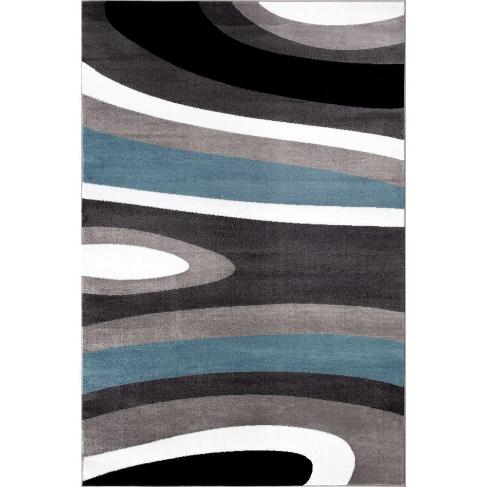 World Rug Gallery Abstract Contemporary Modern Blue 7 Ft