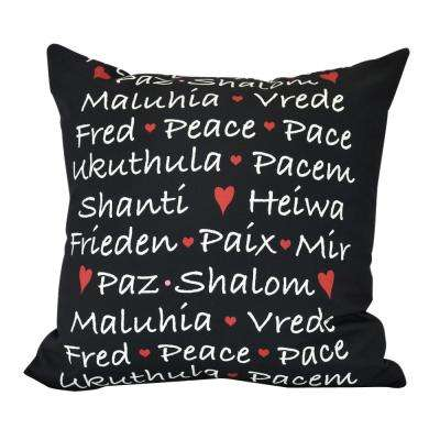 18  in. Words of Peace Word Print Decorative Pillow
