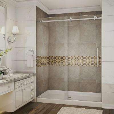 Moselle 60 in. x 77.5 in. Completely Frameless Sliding Shower Door with Base and Middle Drain in Stainless Steel