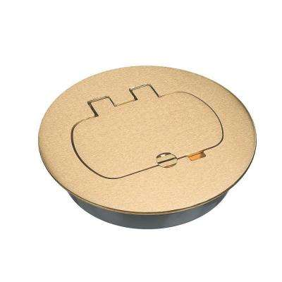 Round Brass Floor Box Cover Kit - Duplex/GFCI (Case of 3)