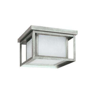 Hunnington Weathered Pewter 2-Light Outdoor Flush Mount