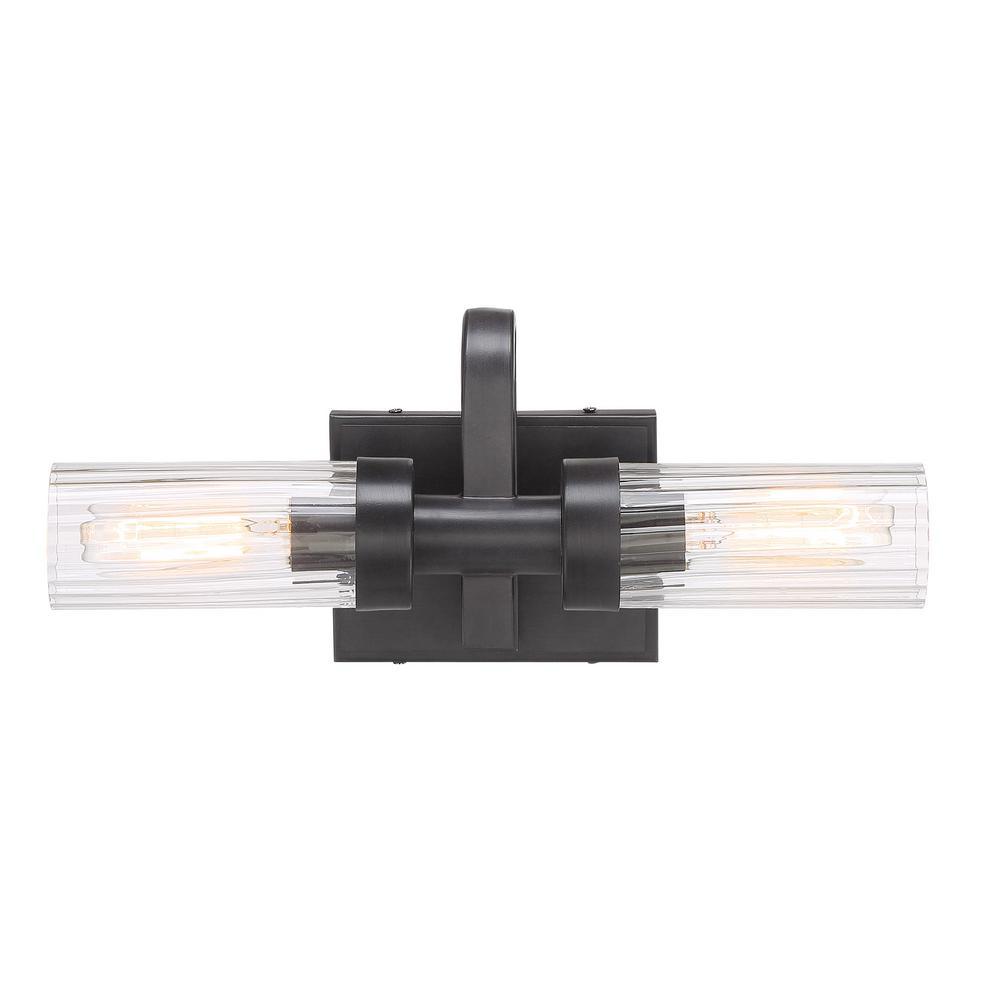 Braden 16 in. 2-Light Iron Graphite Bath Bar Vanity Light