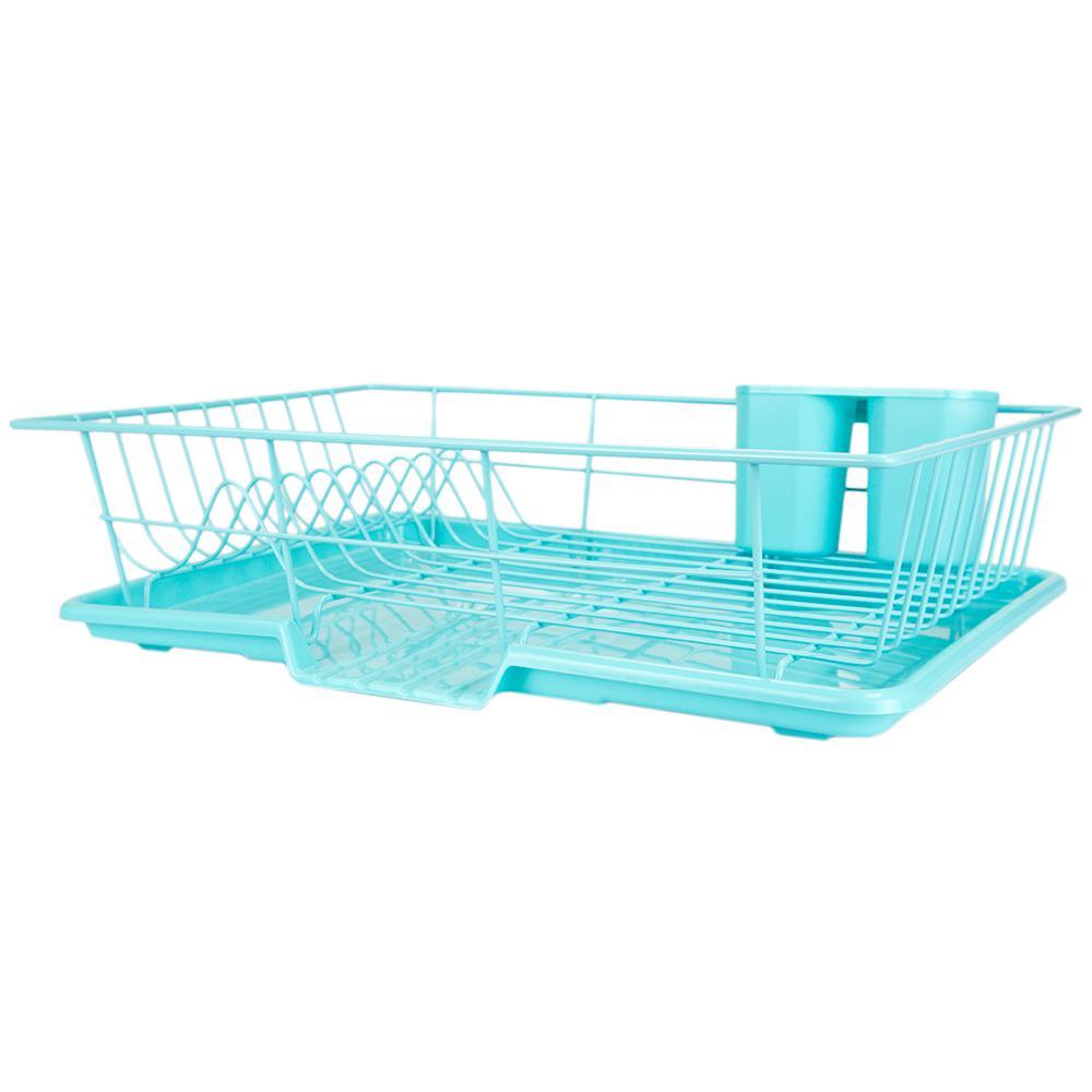 3-Piece Turquoise Dish Drainer Set