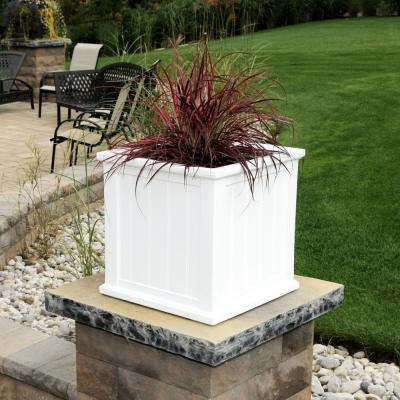 Self-Watering Cape Cod 20 in. Square White Plastic Planter