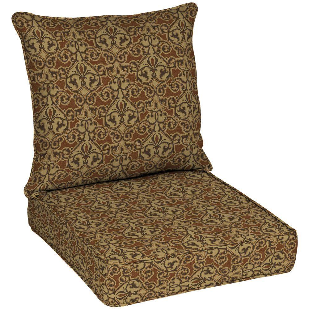 hamptonbay Hampton Bay Cayenne Scroll Tan Solid Quick Dry 2-Piece Deep Seating Outdoor Lounge Chair Cushion Set