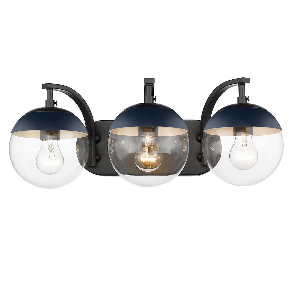 Golden Lighting 3219-BA3 PW-BLK Three Light Bath Vanity Black