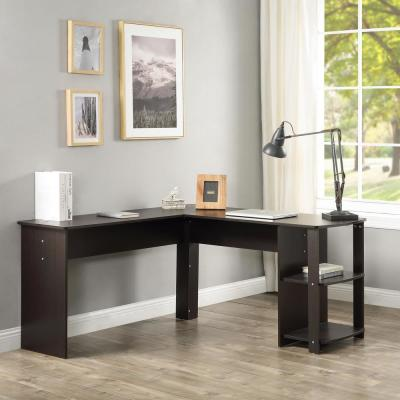 Espresso L-Shaped Computer Desk with Side Storage