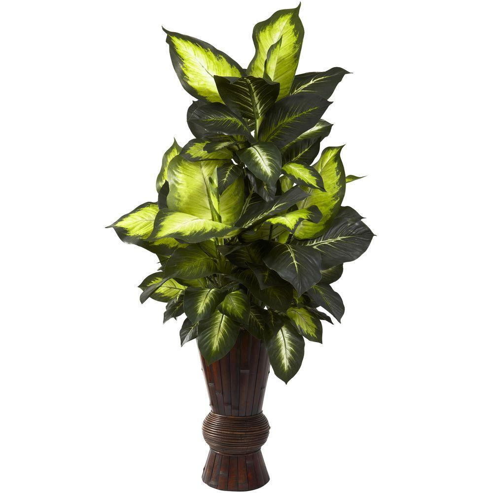Nearly Natural Golden Dieffenbachia with Bamboo Planter