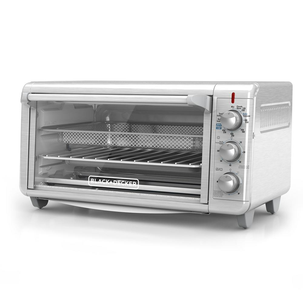 BLACK+DECKER Extra Wide Crisp 'N Bake 1500 W 8-Slice Stainless Steel Toaster Oven and Air Fryer