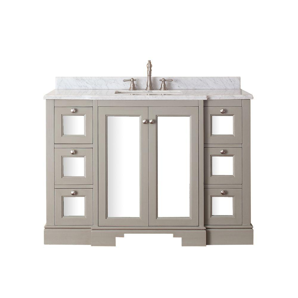Vanity In French Gray With Marble Vanity Top In Carrera White