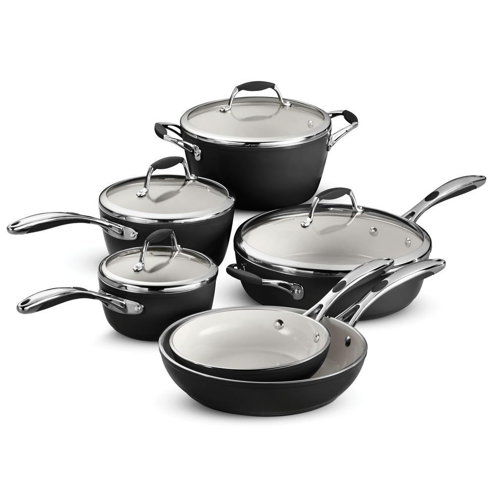 Gourmet Ceramica Deluxe 10-Piece Metallic Black Cookware Set with Lids