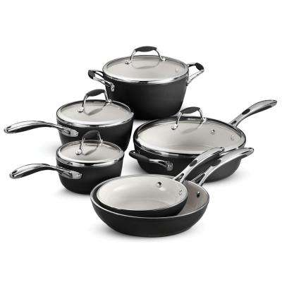 Gourmet Ceramica Deluxe 10-Piece Metallic Black Cookware Set with Lids