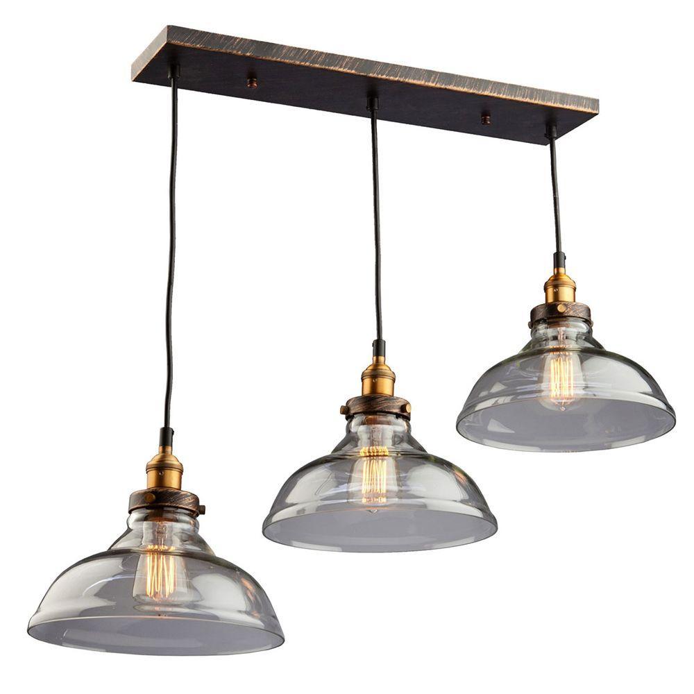 Filament Design 3-Light Bronze And Copper Pendant-CLI