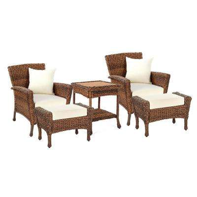 Rustic Brown 5-Piece Wicker Faux Sea Grass Patio Conversation Set With Beige Cushions