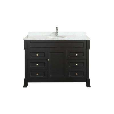 Tim 48 in. W x 35 in. D x 22 in. H Vanity in Espresso with Carrara Top in White with White Basin