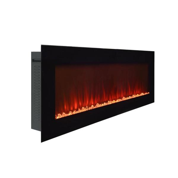 Paramount Premium 50 In Wall Mount Electric Fireplace In Black Ef Wm350 Mo The Home Depot