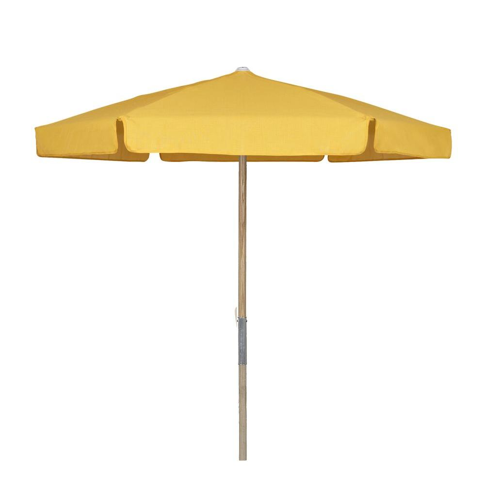 7.5 ft. Wood Beach Patio Umbrella with Yellow Vinyl Coated Weave