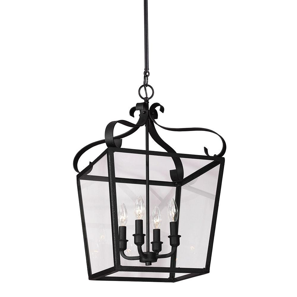Sea Gull Lighting Lockheart 13.75 in. W x 23.25 in. H 4-Light Textured Black Hall/Foyer Lantern Pendant with Clear Glass Panels