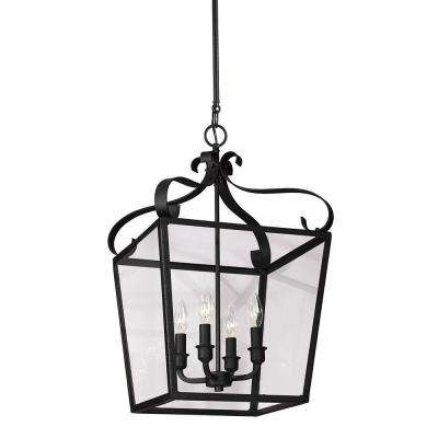 Lockheart 13.75 in. W x 23.25 in. H 4-Light Textured Black Hall/Foyer Lantern Pendant with Clear Glass Panels