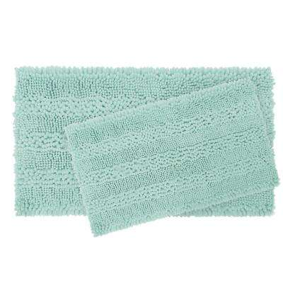 Astor Striped Chenille 17 in. x 24 in./ 20 in. x 34 in. 2-Piece Plush Bath Mat Set in Aqua