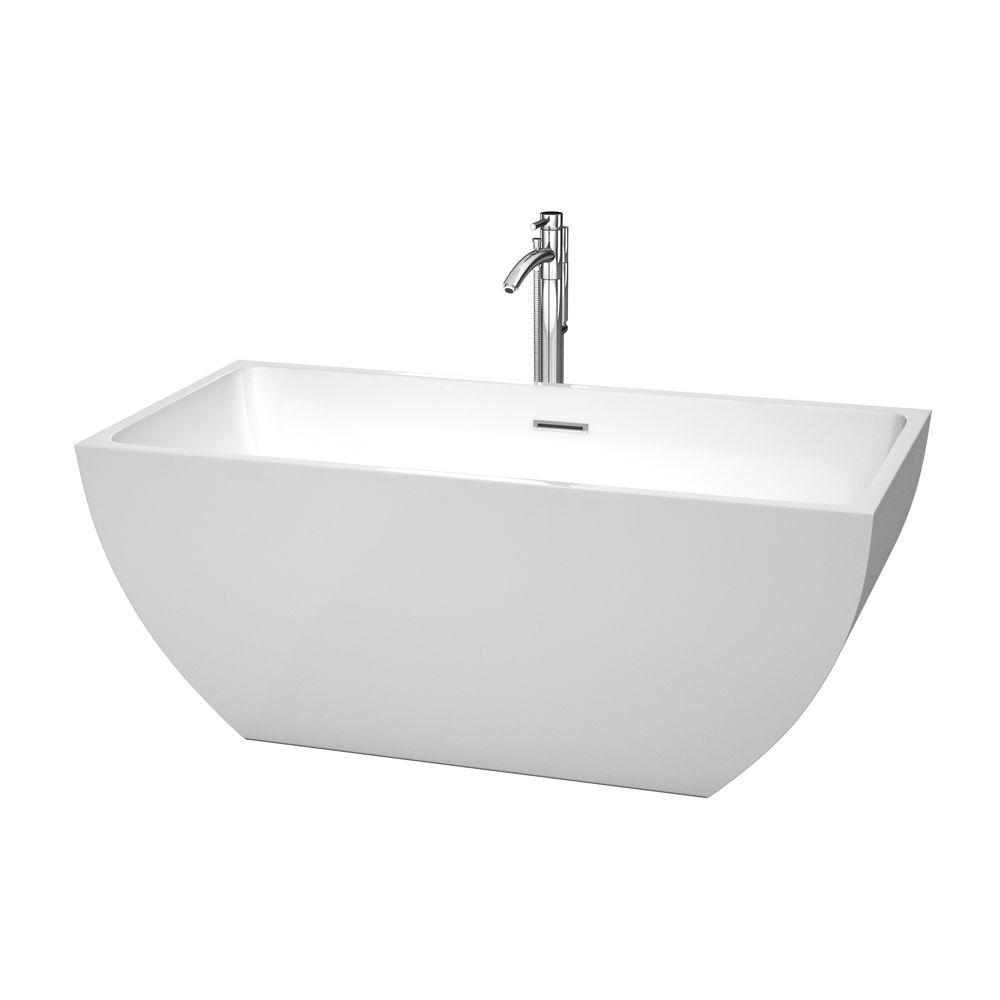 Wyndham collection rachel 59 in acrylic flatbottom center for Acrylic soaker tub